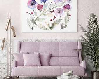 Large READY TO HANG Gallery Style Canvas Print, Stretched Canvas Art, Canvas Wall Art,  Canvas Giclée SenayStudio Abstract Floral Art Print