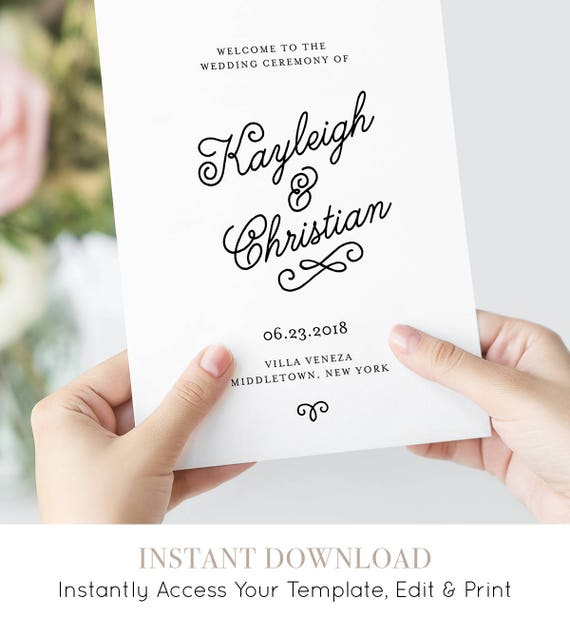 Wedding Program Template, Printable Order of Service, Romantic Calligraphy, INSTANT DOWNLOAD, 100% Editable, Booklet / Folded #035-108WP