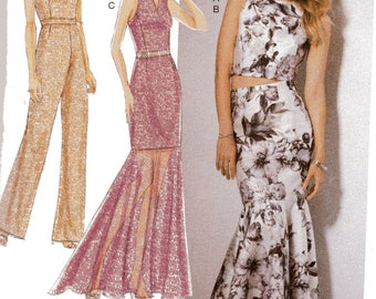 McCall's David Tutera Pattern 7540 TRUMPET DRESS & Skirt/Tulip-Back JUMPSUIT Misses Sizes 14 16 18 20 22