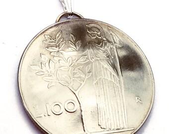 Italian Coin Pendant Minerva Olive Tree Vintage Necklace Italian Jewelry Unique World Travel Italian Charms Italian Jewelry Made in Italy