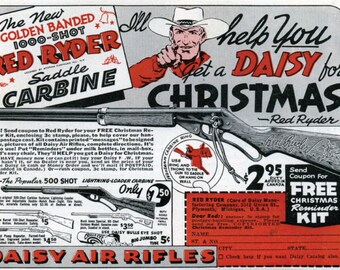 """Vintage Red Ryder - Daisy BB Gun Classic Ad - A Christmas Story - 11"""" by 17"""" poster/print"""