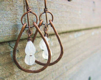 Moonstone Hammered Copper dangle earrings, Hammered Copper hoops with moonstone teardrop bead dangles earrings