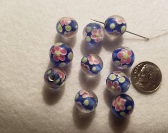 10 10mm Lampwork Cobalt Blue Rose Pink Daisy Round Glass Beads