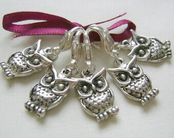 Tibetan Style Owl Stitch Markers for Knitting or Crochet