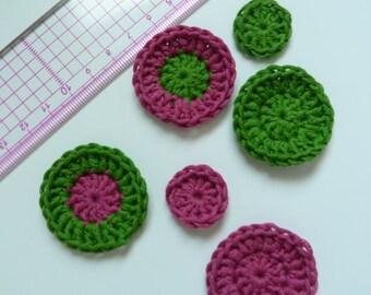 Set of 6 appliques crochet tone fuchsia and green
