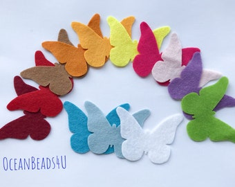 Spring Felt Butterflies, Felt Die Cut Shapes, Butterfly Applique for sewing and craft, felt Party Supply, DIY Wedding, Party decoration