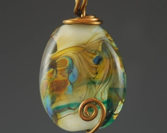 Glass Pendant, Blue, Lampwork Bead, Gold Tone Necklace, Tammie Mabe, Wire Wrapped, Brass Wire, Handmade, Artisan Jewelry, Made in USA, SRA
