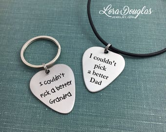 Guitar Pick Keychain, Guitar Pick Necklace, I couldn't pick a better Dad, Guitar Pick Jewelry, Guitar Pick, Music Gift, Guitar Player, Music