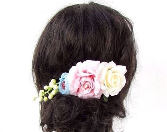 Cream Light Pink Blue Rose Berry Flower Hair Comb Fascinator Bridesmaid 4318