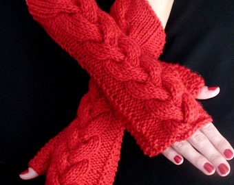 Fingerless Gloves Knit  Wrist Warmers  Red Cabled Acrylic Texting Gloves