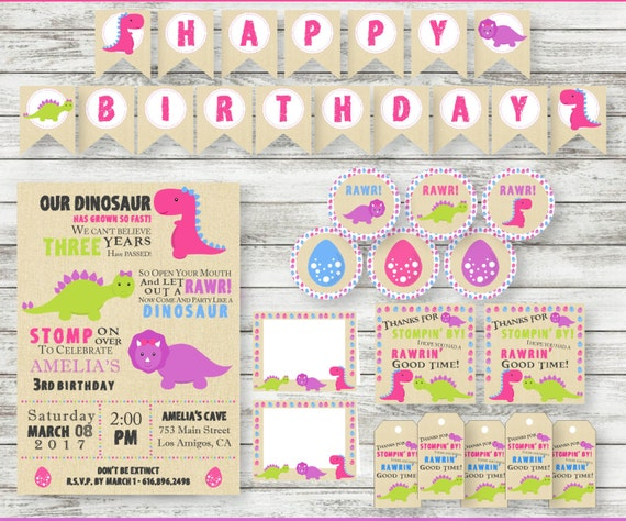Girl dinosaur birthday supplies dinosaur birthday invitation filmwisefo