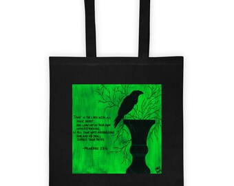 Black Bird Tote Bag / Raven Tote Bag / Crow Tote Bag / Bible Tote Bag / Bible Verse Tote Bag / Gothic Tote Bag / Christian Tote Bag