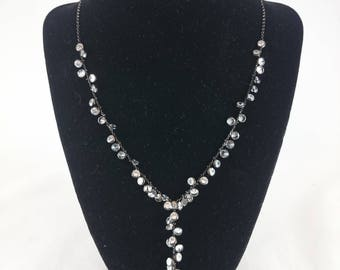 Sterling Silver Necklace, Black Necklace, Crystal Necklace, Necklace, Swarovski Necklace, Valentine