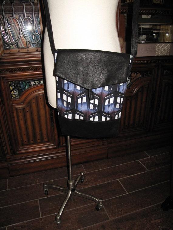 Dr. Who Tardis print unisex shoulder bag or crossbody bag size 14x11x3