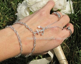 Pearl Anchor Bracelet with ring attached, slave bracelet, silver anchor jewelry, body jewelry, arm band, nautical fitted beach jewelry