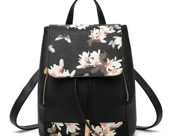 Backpack leather Floral Preppy Style