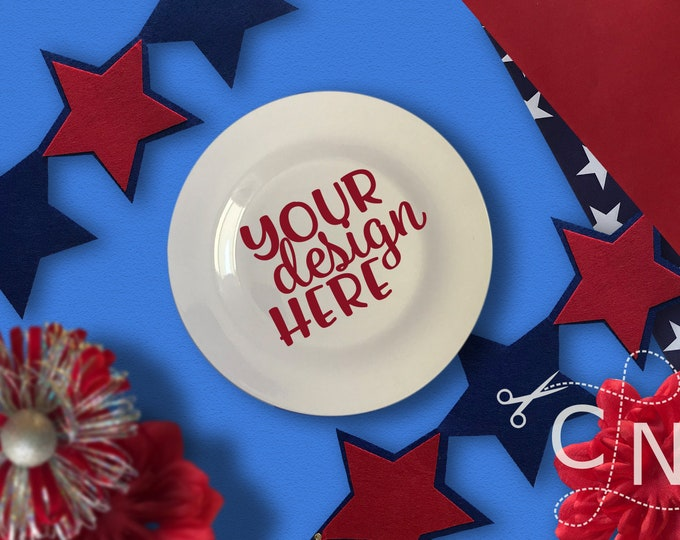 Mockup, Plate, Charger, Dish, Styled, July, Patriotic, Summer, Craft Mockup, Mockup Design, Svg Mockup, Mockup for Svg, Jpeg, Mock up, Vinyl
