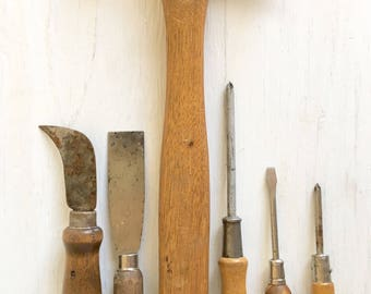 Old Wooden Handle Tools Complete Set Hammer Screwdrivers Rusty Rustic Farmhouse Style Diy