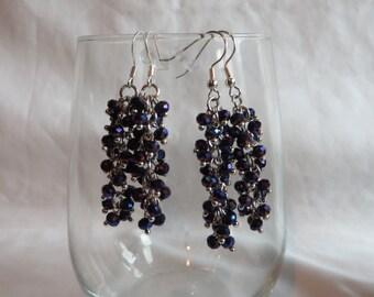Blue Cluster Earrings on Silver Ear Wires, Earrings, Cluster, Blue