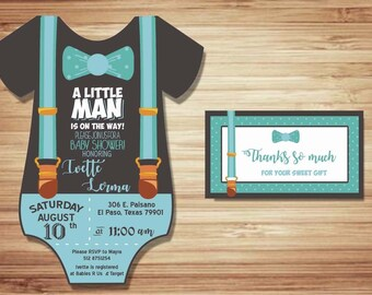 20 baby suit cardstock baby shower invitation little man boy label tag