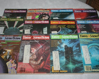 Twelve 12 Vintage Fantasy & Science Fiction Magazines Sci Fi Fantasy Science Fiction, 1982