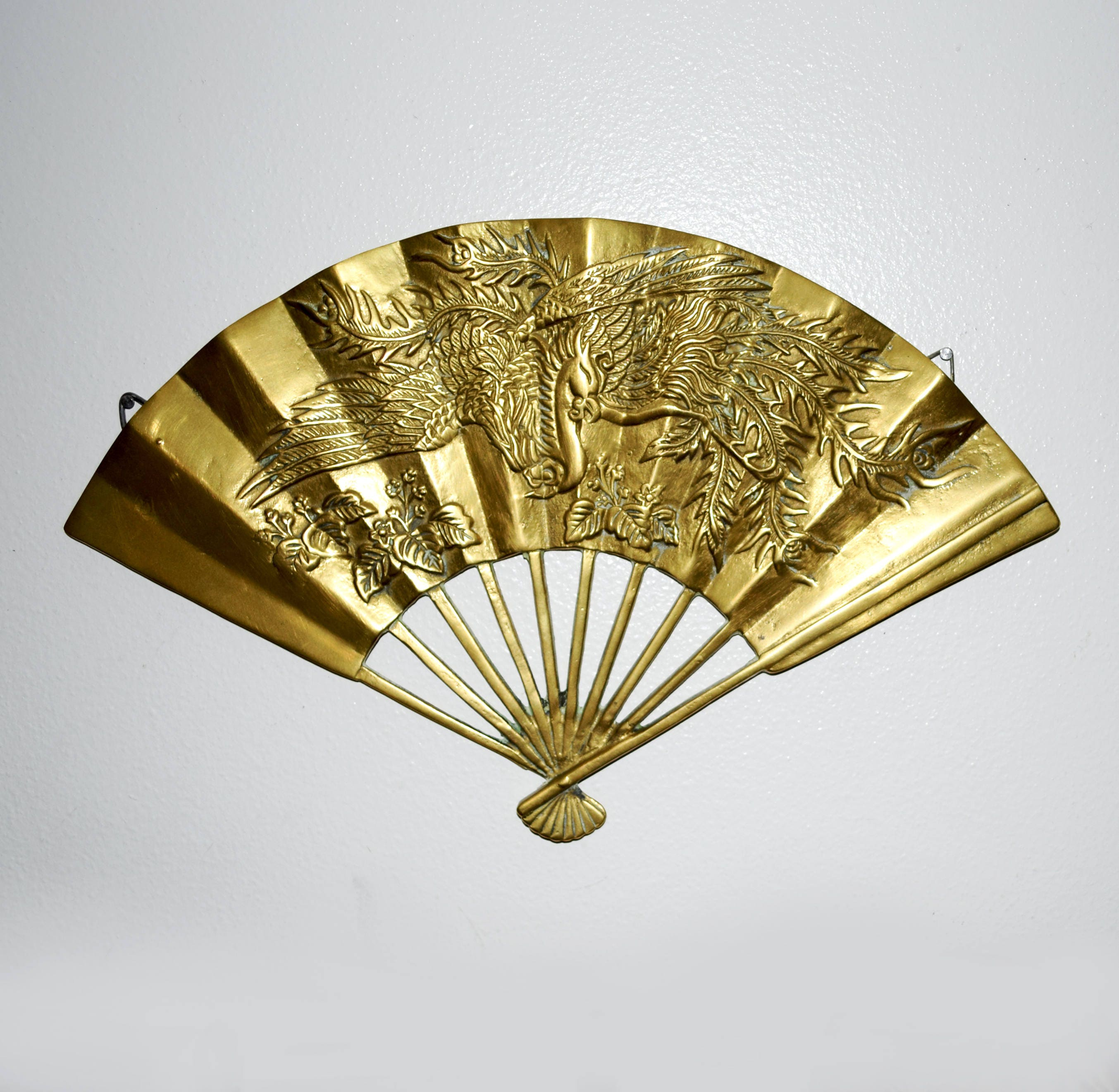 Vintage Brass Wall Fan / Asian / Wall Decoration / Chinese /