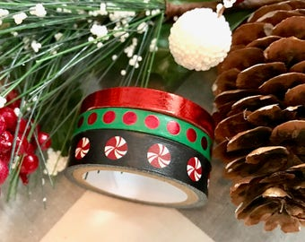 """Christmas Washi, Red Foil, Peppermint Candies, Red Polka Dots, Christmas Washi Tape, 24"""" samples"""