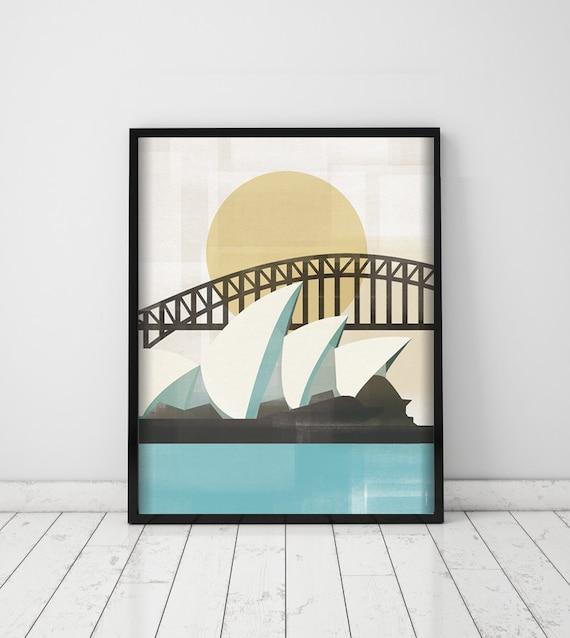 Sydney. Australia print. Wall decor art. Digital print. Illustration.  City. Travel. Oceania.