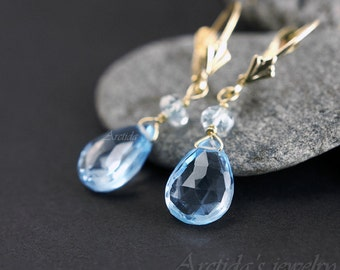 14K solid gold jewelry Aquamarine Blue Topaz earrings Blue topaz jewelry fine jewelry something turquoise March birthstone rusteam - Calypso