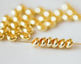20pcs Gold Rondelle Spacer Beads 6mm, Gold plated Brass Large Hole Saucer Beads (GB-239)
