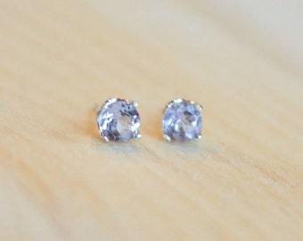 5mm Light Amethyst Argentium Silver Earrings - Nickel Free Hypoallergenic Stud Earrings