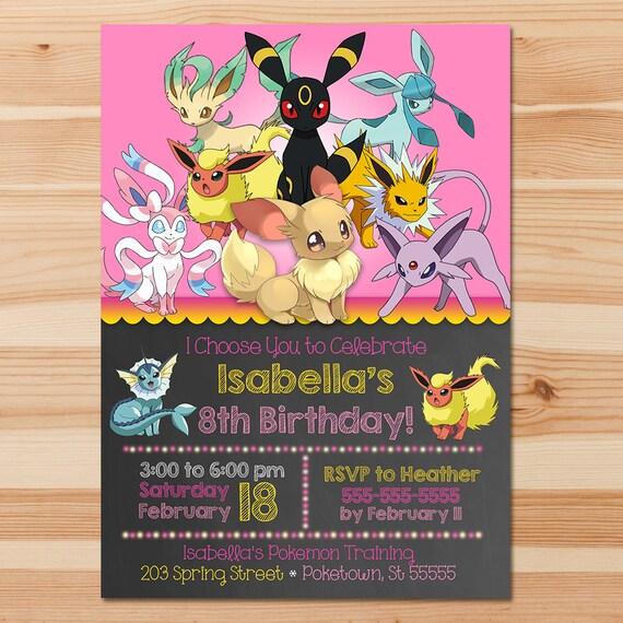 Free Online Birthday Invitations Customised Invitation Cards Pokemon Invite Eevee Evolutions Pink Chalkboard