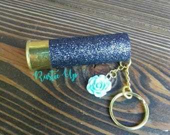 Glitter 12 Gauge Shotgun Shell Keychain with Flower, rustic, key chain, Any Color