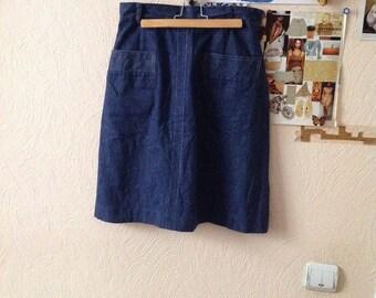 70s Dark Denim A Line Skirt New Denim Knee Length Skirt Small