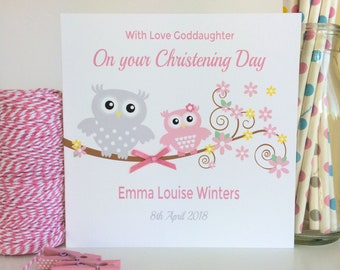 Personalised Pink Owl Christening, Baptism or Naming Day Card - Goddaughter, Granddaughter, Daughter, Niece, Great Granddaughter (LB102)
