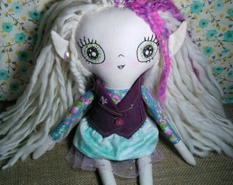 OOAK Handmade Heirloom Fabric Cloth Doll Pixie. Mint and Purple Punk Rock Pixie With Removable Clothes.