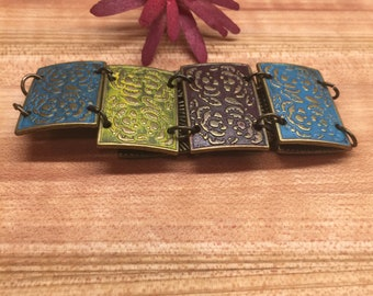 Bracelet, Tile Squares, Stamped, Turquoise, Bronze, Lt Yellow, Free shipping, USA, #16