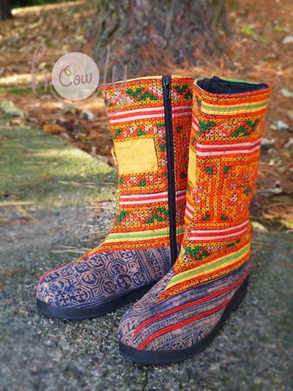 Ethnic Orange Boots Tribal Boots Boots Women's Hippie Tribal Boots Womens Hmong Boho Vegan Vegan Boots Boots Boots Boots Boots HqZFqTw