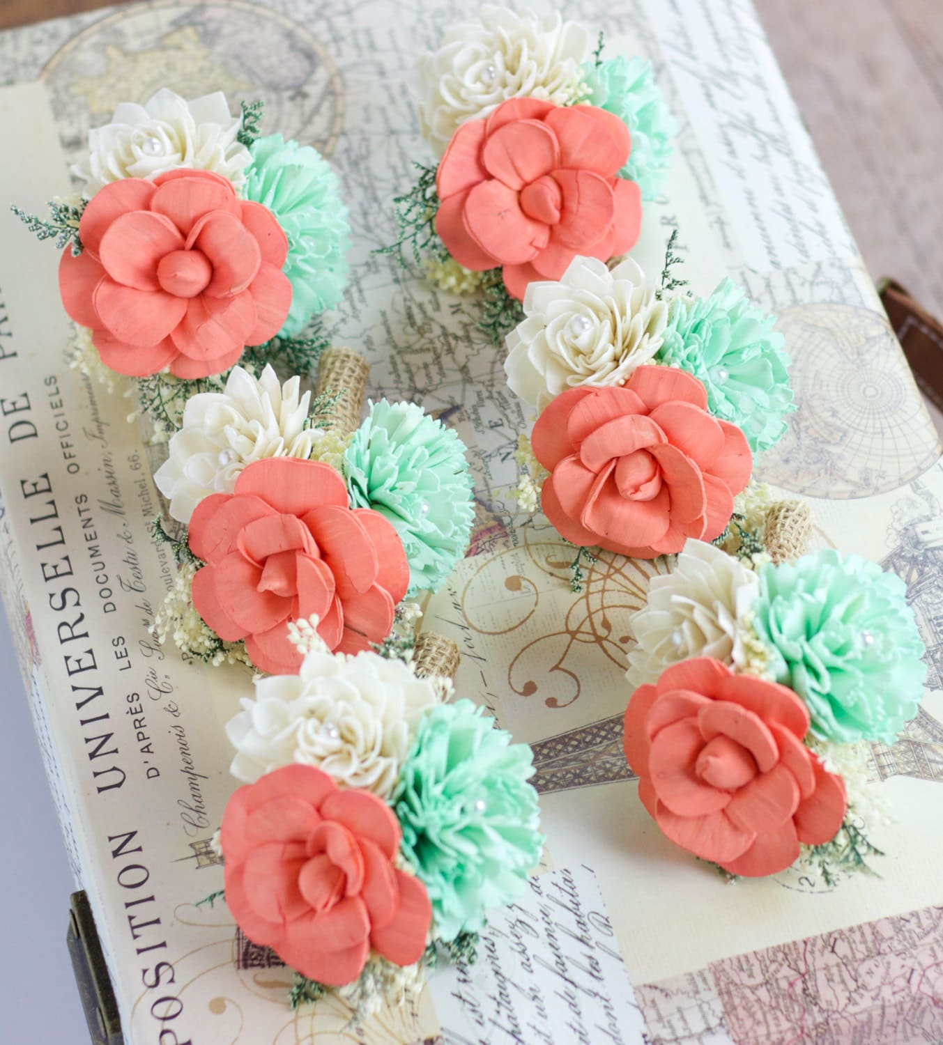 Mint Wedding Flowers: Wedding Flowers Pin Corsage Mint Coral Ivory Mother Pin