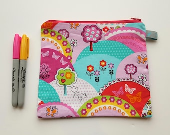 Bright Girls Pencil Case / Cosmetic Pouch with cotton lining