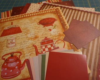 "OOAK ""Little Red Kettle"" 12 x 12 Six Page Set with Photo Mats and Journaling Boxes"