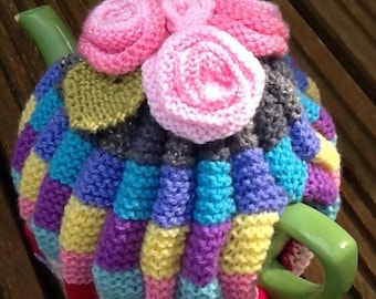 Hand Knitted Colourful Pleated Tea Cosy With Roses