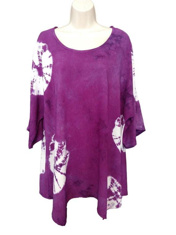 Hand Dyed Women's Tunic/Asymmetric Light Deep Purple Tunic/ Tie Dyed/ Long Sleeve/Women's