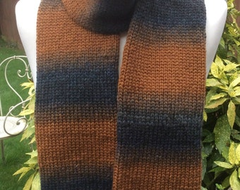 Handmade Wool and Acrylic blend double knit scarf, camel black grey mix colours