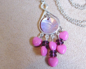 Pink Glass & Shell Necklace