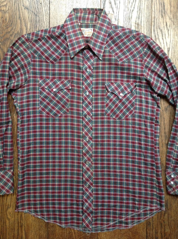 "Vintage 1970s 70s poly cotton red green checked Western cowboy shirt pearl snaps country rockabilly 44"" chest"
