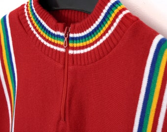 Vintage Cycling Jersey - red knitted Tricot - Tour de France - sports shirt cycle racing - mod 60s 70s 80s bicycle sportswear - Size 4 M