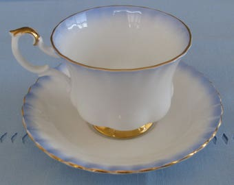 ROYAL ALBERT BLUE Rainbow Bone China Cup and Saucer.  Made in England