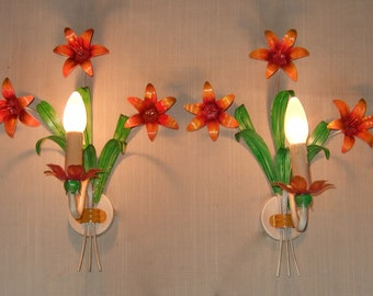 Large Pair of Antique Vintage French tole ware wall sconces with painted lilies and leaves.