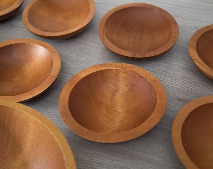 1 Wood Salad Bowl / 1960's Vintage Solid Maple Wood Baribocraft Appetizer Bowl / Food Safe Serving Dish / Hand Carved Hardwood Tray